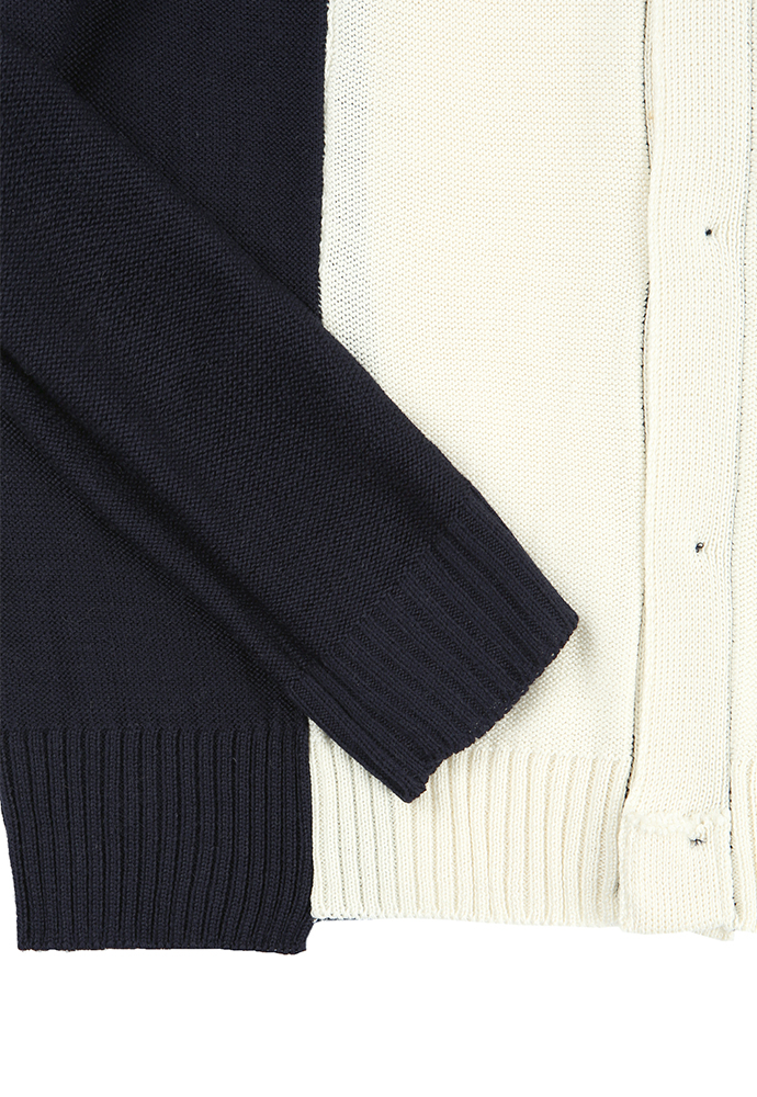 아티팩츠(ARTIFACTS) Segment Reversible Spring Cardigan_ Navy/Ecru